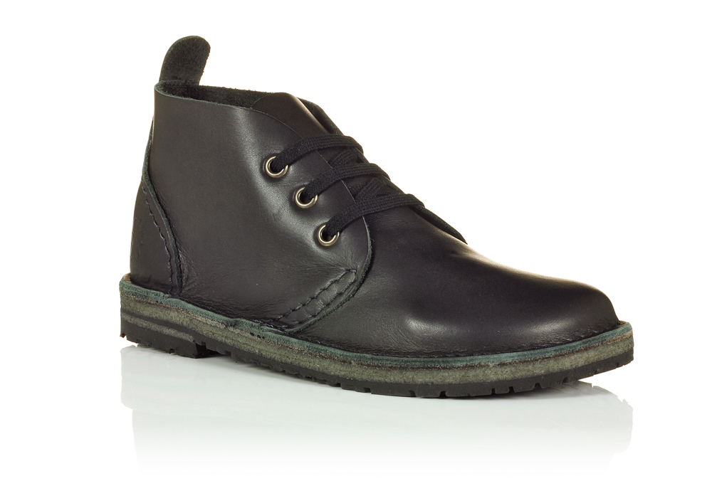 black leather school boots